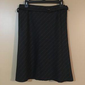 Akris Wool Skirt Black with Brown lines & belt 8